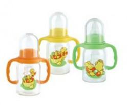 Бутылочка для кормления, Мир детства полипропиленовая с силиконовой соской с ручками с рождения 125 мл арт. 11109