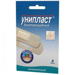 Лейкопластырь бактерицидный, Унипласт р. 1.9смx7.2см №8 незаметный