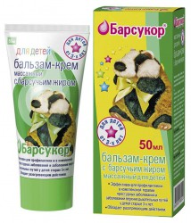Бальзам-крем, Барсукор разогревающий массажный для детей 50 мл