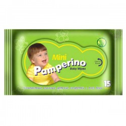 Салфетки влажные детские, Памперино с алоэ вера мини №15