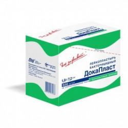 Лейкопластырь бактерицидный, Докапласт р. 1.9смx7.2см №10 с бриллиантовым зеленым инд. упак.